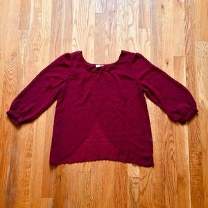 Pins & Needles Burgundy Red Split Back Blouse